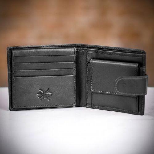 Charles Smith RFID Billfold Wallet with Coin Purse - Black, Farrar & Tanner