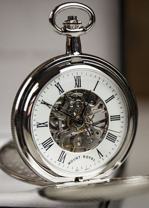 Mount Royal Double Hunter Skeleton Embellished Fleur de Lis Pocket Watch, Farrar & Tanner
