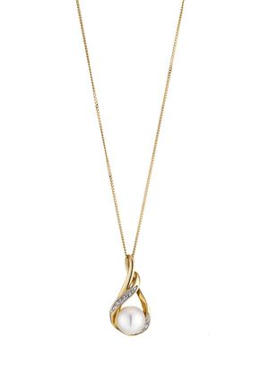 9ct Gold Cultured Freshwater Pearl & Diamond Pendant, 1303