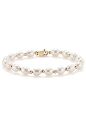 9ct Gold Cultured Freshwater Pearl 5.5-6mm Bead Bracelet, 1303