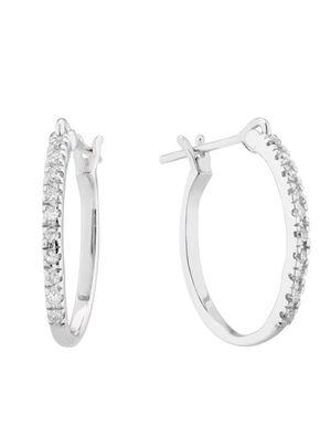 9ct White Gold 0.10ct Diamond Skinny Hoop Earrings, 1303
