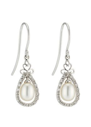 9ct White Gold Cultured Freshwater Pearl & Diamond Drop Earrings, 1303