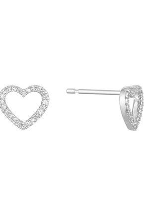 9ct White Gold Diamond Heart Stud Earrings, 1303