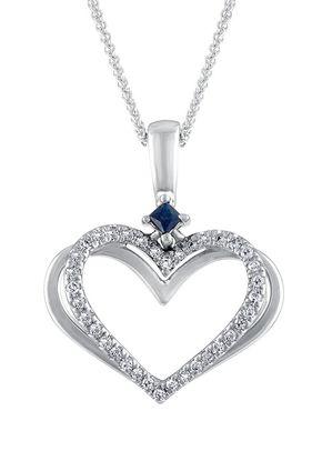 Vera Wang 18ct White Gold Diamond And Sapphire Heart Pendant, 1303