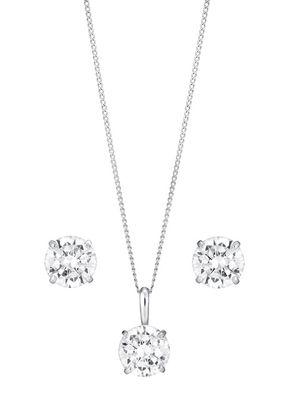 9ct White Gold & Cubic Zirconia Earring & Pendant Set, 1305