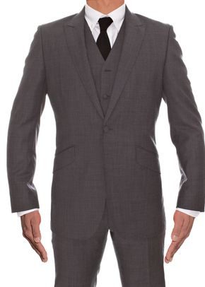 Grey Wool 2 Piece & Waistcoat, 973