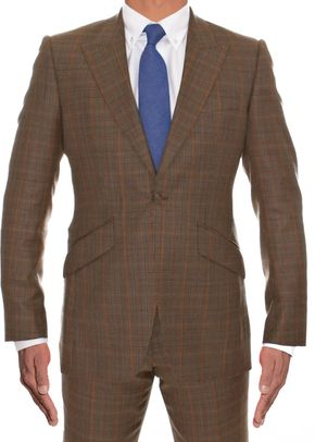 Wool & Silk Plaid Pattern Peklapel, 973