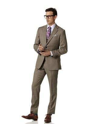 Fawn classic fit twill business suit, Charles Tyrwhitt