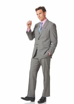 Grey Prince of Wales classic fit panama business suit, 1129