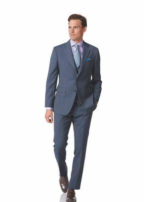 Light blue slim fit herringbone business suit, 1129