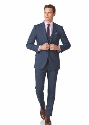 Light blue slim fit step weave suit, Charles Tyrwhitt