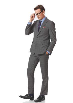 Light grey check slim fit twist business suit, 1129