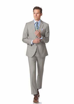 Light grey slim fit twill business suit, Charles Tyrwhitt