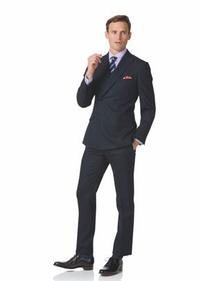 Midnight blue double breasted slim fit merino business suit, Charles Tyrwhitt