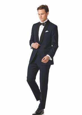 Midnight blue slim fit shawl collar dinner suit, 1129