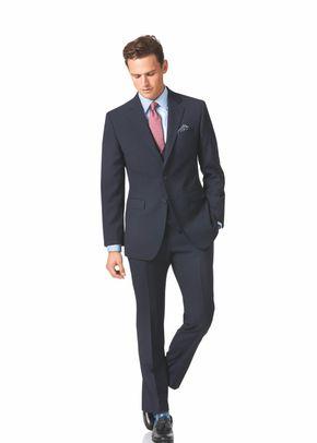Navy slim fit herringbone business suit, Charles Tyrwhitt