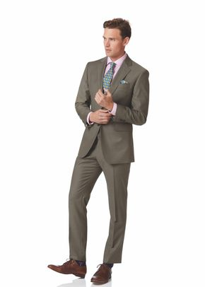 Olive slim fit twill business suit, 1129