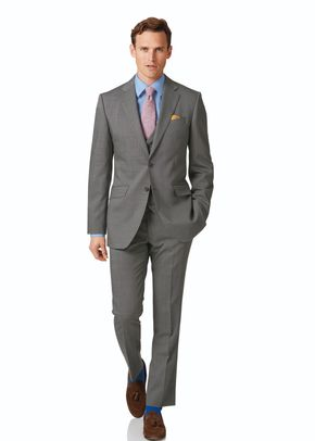 Silver slim fit step weave suit, 1129