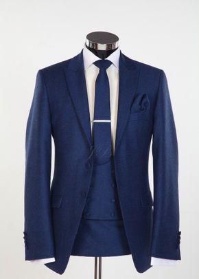 Newbury - Flannel Wool Slim Fitting Wedding Suit in Blue, Jack Bunneys