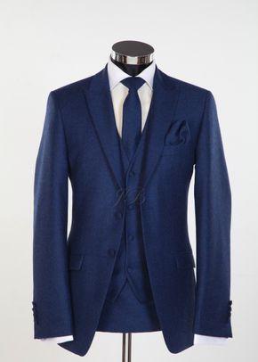 Newbury - Flannel Wool Slim Fitting Wedding Suit in Blue 2, Jack Bunneys