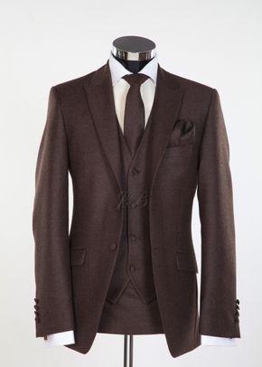 Newbury - Flannel Wool Slim Fitting Wedding Suit in Brown, Jack Bunneys