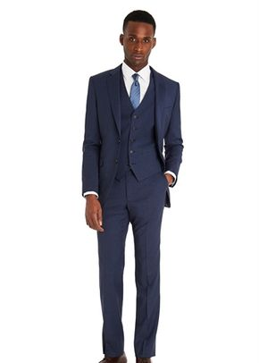DKNY SLIM FIT BLUE MARL 3 PIECE SUIT, 1215