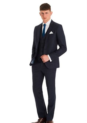 MOSS LONDON SLIM FIT BLUE SPECKLED 3 PIECE SUIT, 1215