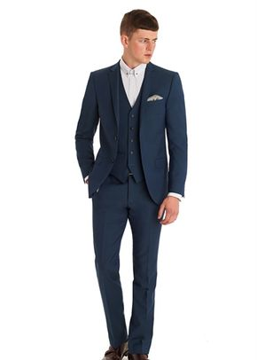 MOSS LONDON SLIM FIT TEAL 3 PIECE SUIT, Moss Bros