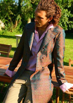 Silk Overcoat Men Royal Jacquard, Shibumi Groomswear