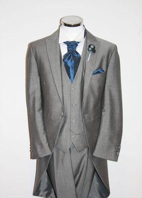 Light Grey Tails, Suit Waistcoat, Blue Cravat, STEPHEN BISHOP