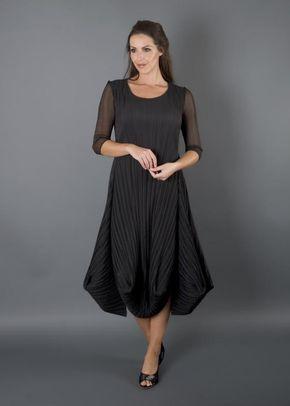Black Crush Pleat Crepe Drape Hem Dress, Chesca