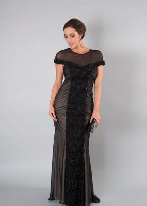 Black Floral Beaded Panel Mesh Long Dress, 1123