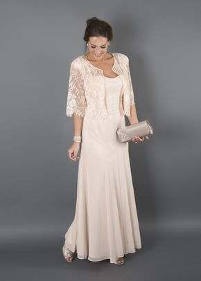 Champagne Chiffon Panel Dress Lace Jacket, Chesca