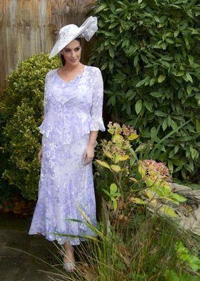 Lilac Lace Cap Devoree Applique & Bead Trim Dress, 1123