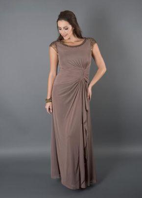 Mink Sequin Trim Long Mesh Dress, Chesca