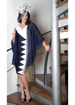 Navy & Ivory Contrast Jersey Dress, Chesca
