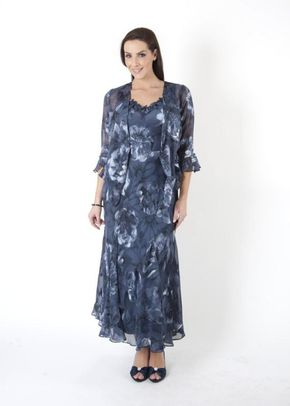 Navy Dusk Floral Applique & Bead Trim Devoree Dress, Chesca