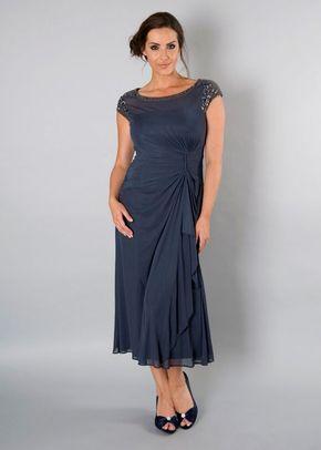 Steel Sequin Trim Mesh Dress, 1123