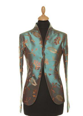 Silk Jacket Women Anya Aqua Teal, Shibumi