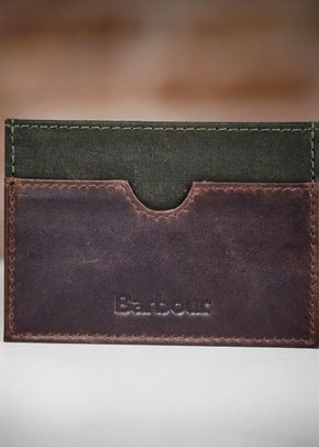 Barbour Waxed Cotton and Leather Cardholder, 1307