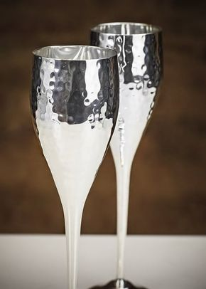 Culinary Concepts 'Let's Get Hammered' Set of 6 Silver Plated Champagne Flutes, 1307