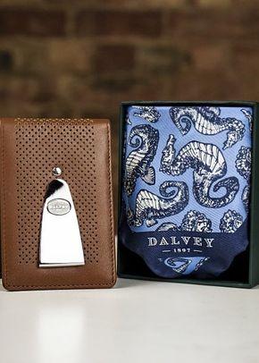 Dalvey Insignia Wallet Tan/Blue & Hippocampus Pocket Square, 1307