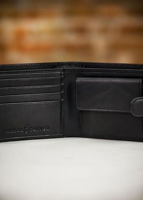 Farrar & Tanner Premium Nappa Leather Billfold Wallet with Coin Purse - Black, 1307
