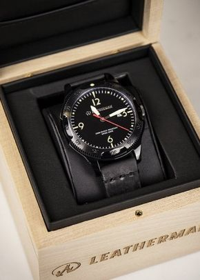 Leatherman Limited Edition Black Leather Strap Watch, 1307
