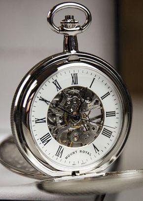 Mount Royal Double Hunter Skeleton Embellished Fleur de Lis Pocket Watch, 1307