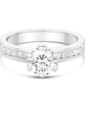 2.8mm 6 Claw Centre Setting with Channel Set Diamond Shoulders Engagement Ring, Aurus