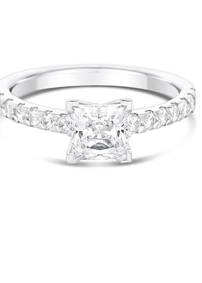2mm Central Diamond 4 Claw Set with 2 Claw Diamond Shoulders Engagement Ring, Aurus