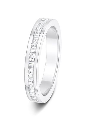 3.1mm 0.50ct Alternating Channel Set Round and Baguettes Cut Diamonds Polished Half Eternity Ring, Aurus