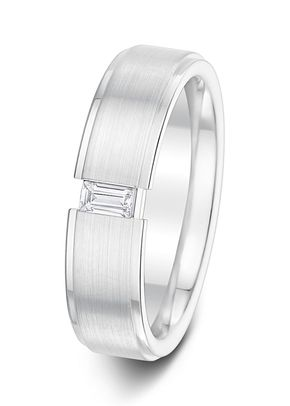 5.5mm 0.12ct Brushed Finish with Polished Edges Diamond Set Wedding Ring, Aurus