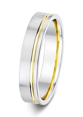 5mm Two Tone Flat Satin Finish Offset Groove Wedding Ring, Aurus